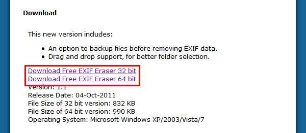 ページに移動したら下の方のダウンロードリンクをクリック。 | Free EXIF Eraser