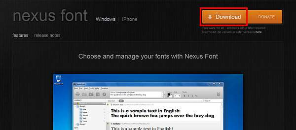 NexusFontをダウンロード