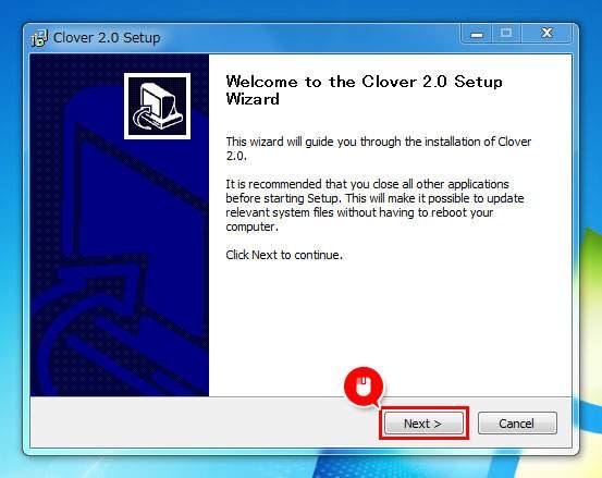 インストールファイルを実行し、セットアップ画面で「Next」をクリック