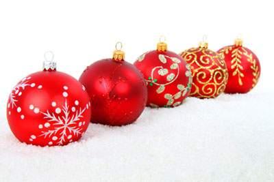 いろいろな装飾のクリスマスボール
