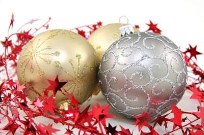 ゴールドとシルバーのクリスマスボール