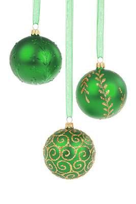 鮮やかな緑のクリスマスボール