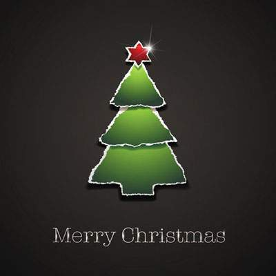 Simple xmas tree made torn paper vector