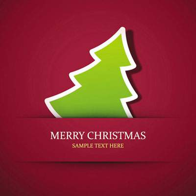 Simple xmas tree for seasons greeting vector