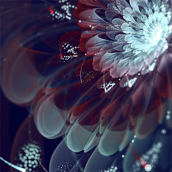 3DCGソフトで描かれた光の花のデジタルアート作品 -02