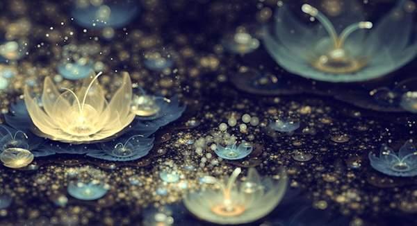 3DCGソフトで描かれた光の花のデジタルアート作品 -03