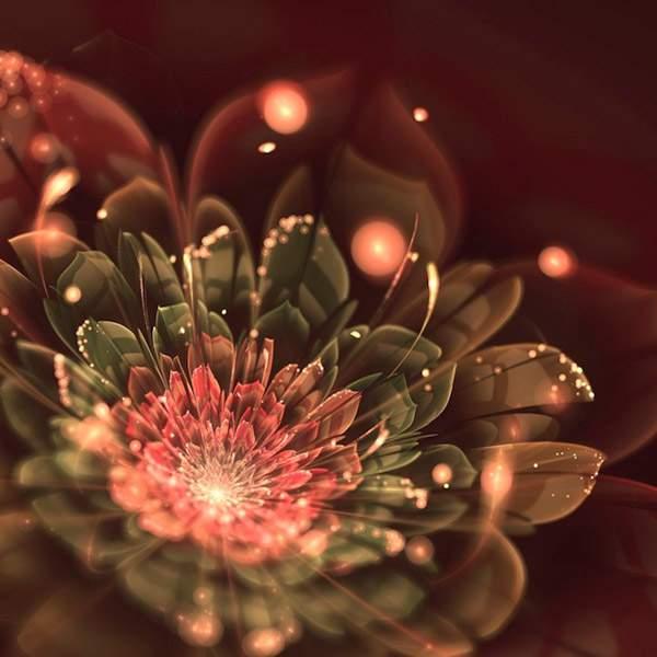 3DCGソフトで描かれた光の花のデジタルアート作品 -04