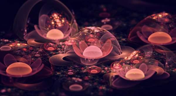 3DCGソフトで描かれた光の花のデジタルアート作品 -05