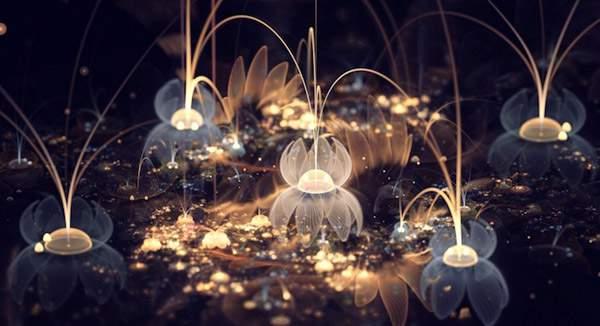 3DCGソフトで描かれた光の花のデジタルアート作品 -06