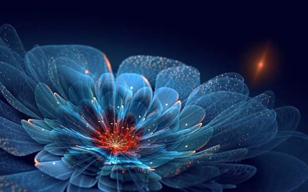 3DCGソフトで描かれた光の花のデジタルアート作品 -07