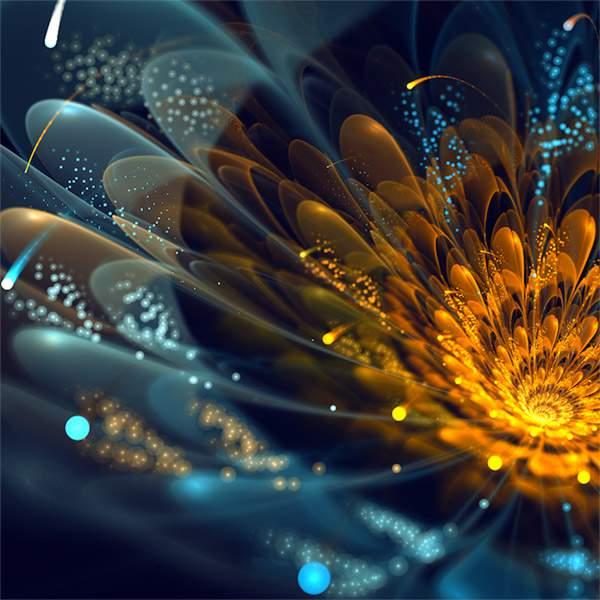 3DCGソフトで描かれた光の花のデジタルアート作品 -08