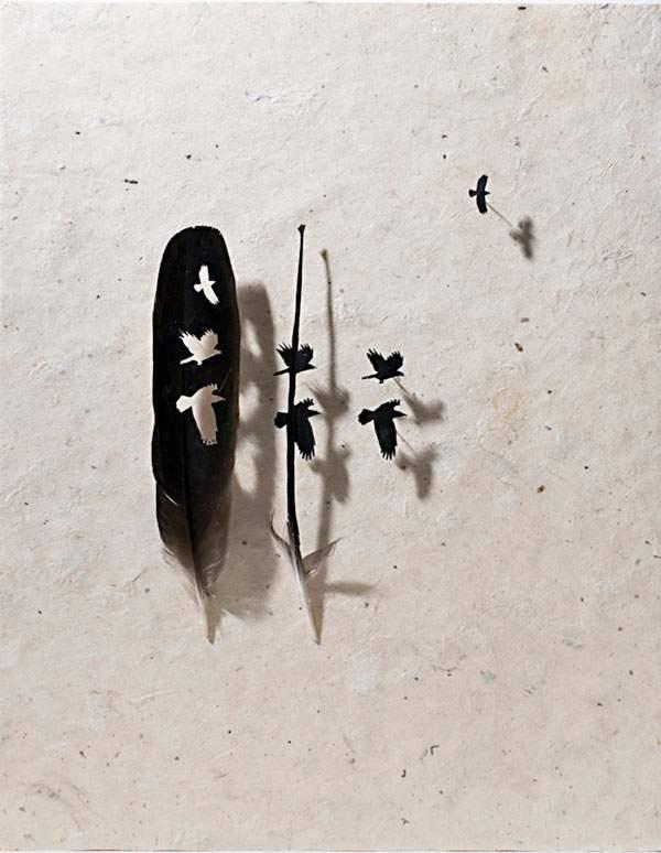 鳥の羽を鳥の形に切り抜いたアート作品 - 07