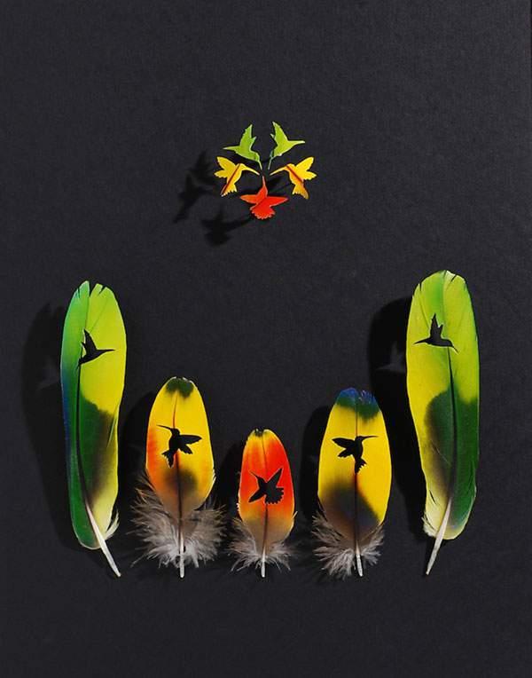 鳥の羽を鳥の形に切り抜いたアート作品 - 10