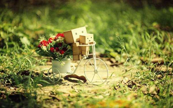花と自転車