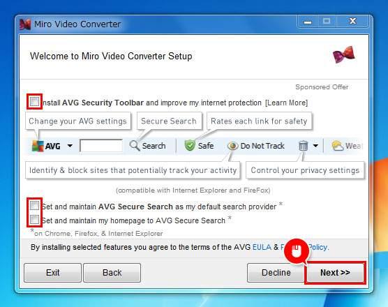 セキュリティーソフトのインストールをするか選んでNextをクリック