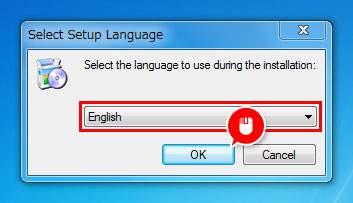 言語は「English」のまま「OK」をクリック