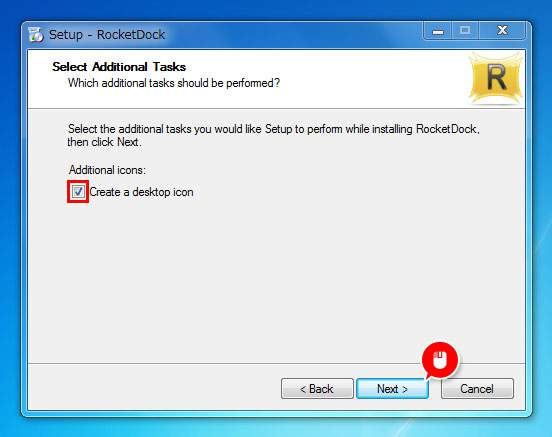 ショートカットアイコンが必要な場合はチェックを入れて「Next」をクリック