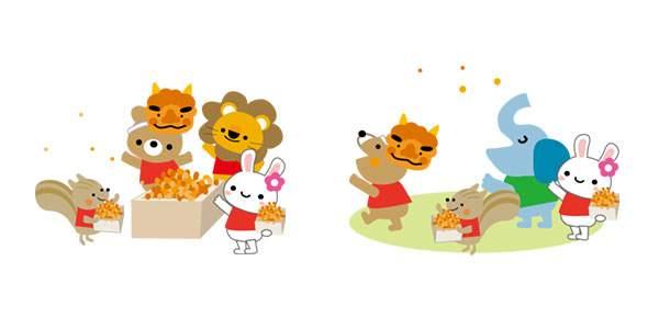 節分・豆まきのイラスト - 動物達とオニ