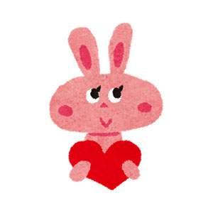 バレンタインのイラスト「ウサギとハート」