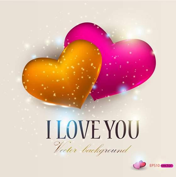 キラキラ輝くハートが綺麗なバレンタインカード