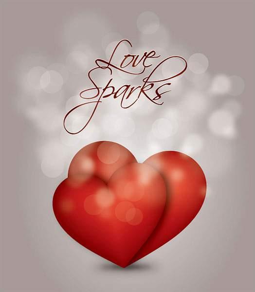ハートと光のボケがロマンチックなバレンタインカード