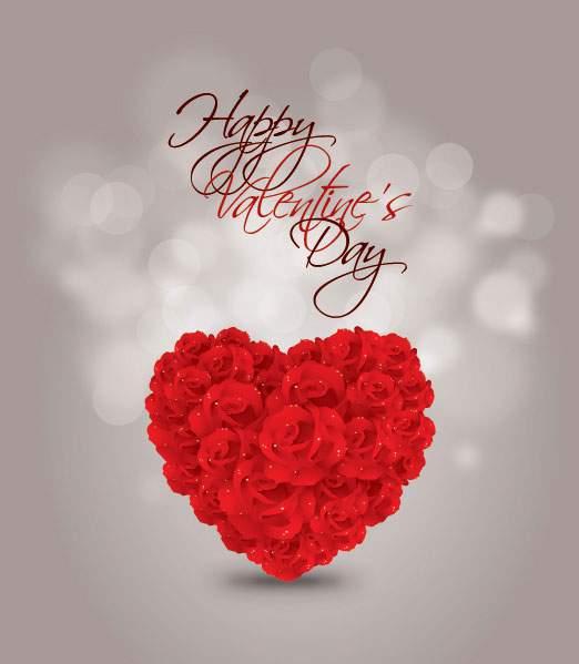 バラのハートのバレンタインカード・テンプレート