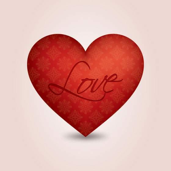 柄の入った大きなハートのバレンタインイラスト