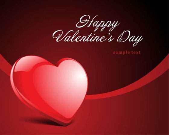 光沢感のあるハートがかわいいバレンタインイラスト