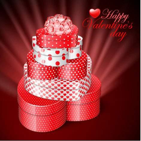 プレゼント箱を積み重ねたバレンタインデーイラスト