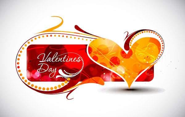オレンジのハートがかわいいバレンタインカード