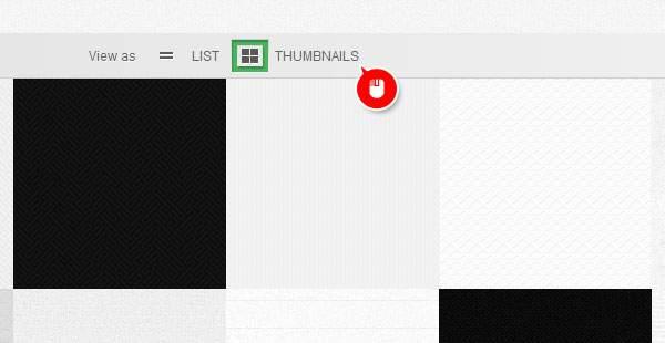 「THUMBNAILS」ボタンをクリックでサムネイル表示