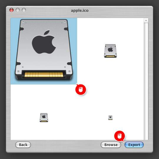 変換したい画像を選んで「Export」をクリック