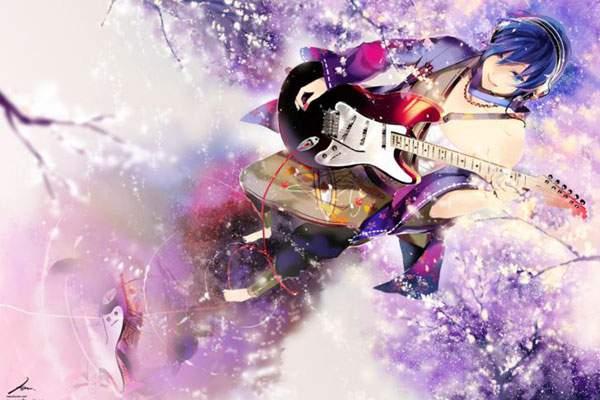 エレキギターと桜