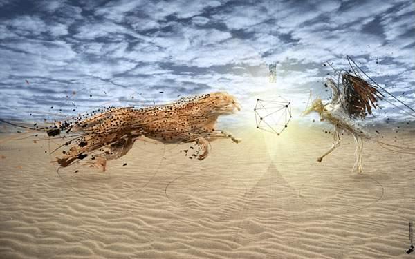 砂漠を駆けるチーターとトリ
