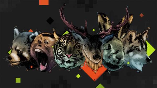 ポップな動物たちの表情