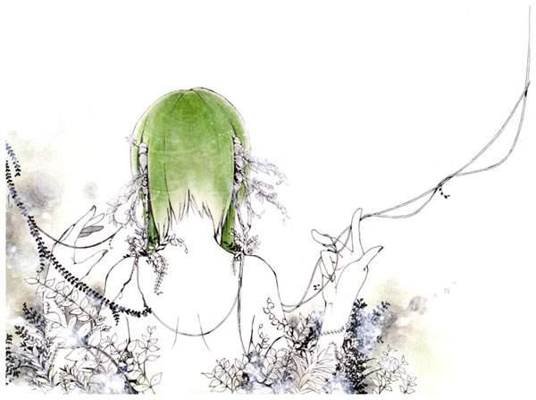GUMIの後ろ姿と植物の水彩イラスト