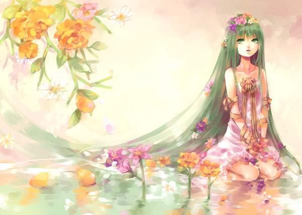 淡い色合いが綺麗な花とミクのイラスト