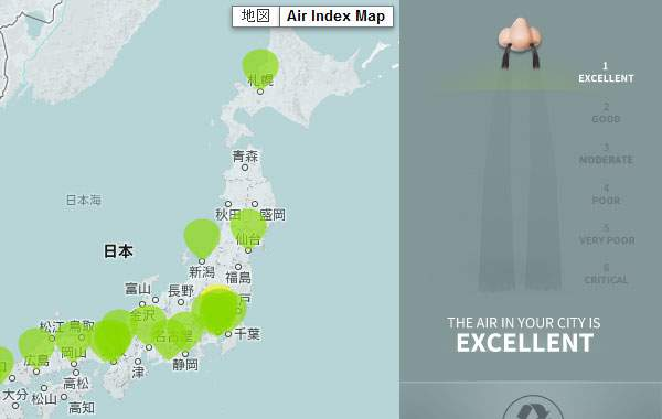 日本はほとんどグリーンで汚染レベル1。