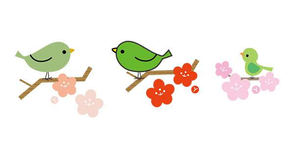 梅に鶯(うぐいす)春イラスト