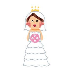 結婚式のイラスト「ウェディングドレスの花嫁」