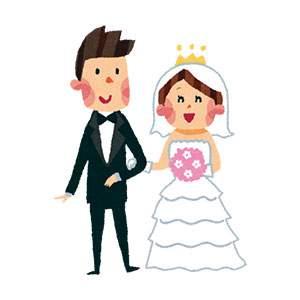 結婚式のイラスト「新郎新婦・ウェディングドレス・タキシード」