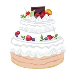 フルーツの乗った大きなケーキ