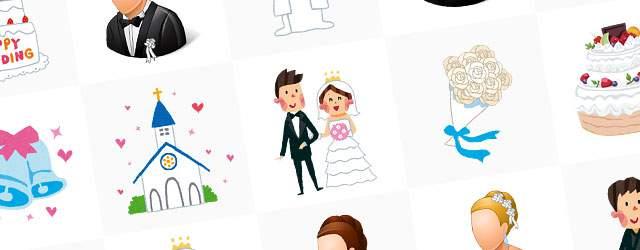 無料イラスト素材:結婚式の画像まとめ(ウェディングドレス