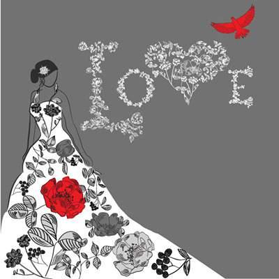 花飾りで作った「Love」の文字と花嫁