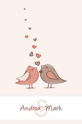 かわいい鳥の新郎新婦
