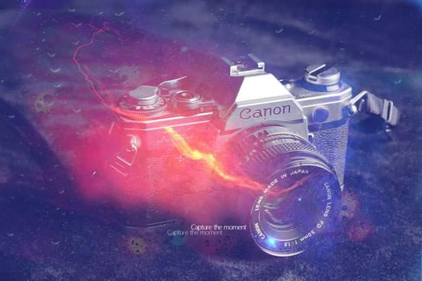 フレア風のエフェクトをつけたカメラの写真