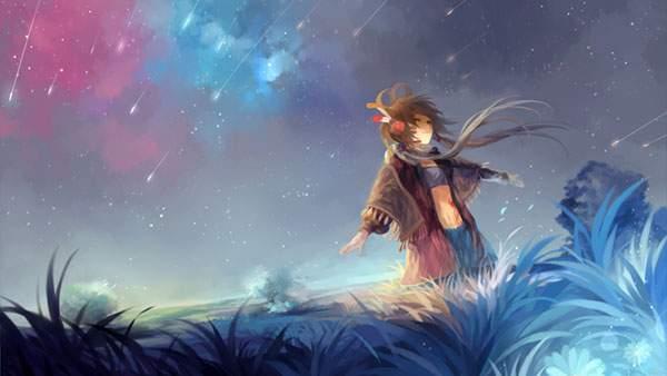 草原と空と流れ星とLUO
