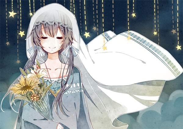 夜空と花束を持ったLUO