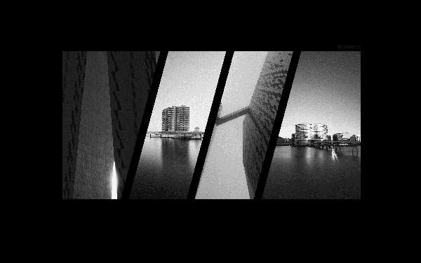 ビルを撮影したモノクロ写真のパネル