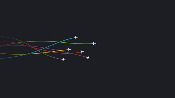 カラフルな飛行機雲のライン